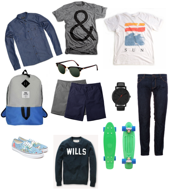 APC Chambray Shirt  , Ampersand Tee, Alltru Sun Tee, Pine Fort Backpack, Rayban's Clubmaster Sunglasses, Norse Project Shorts, Timex Watch, APC Jeans, Vans Shoes, Jack Wills Hoodie, Penny Skateboard