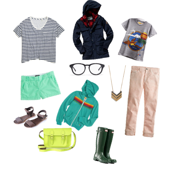 SkarGorn Stripe Tee, Penfield Kasson Parka, Aviator Nation Tee, J. Crew Shorts, Arrowstack Necklace, Eyeglasses, Mollusk Sandals, Hunter Rain Boots, J. Crew Cropped Pant, Aviator Nation Sunset Hoodie, Cambridge Satchel