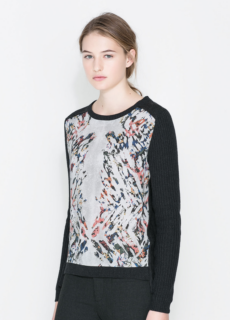Printed Panel Sweater