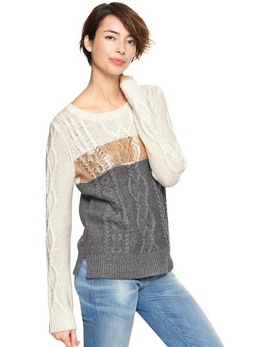 Metalic Stripe Cable Sweater
