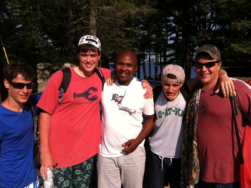 Bongani with campers at O-at-ka