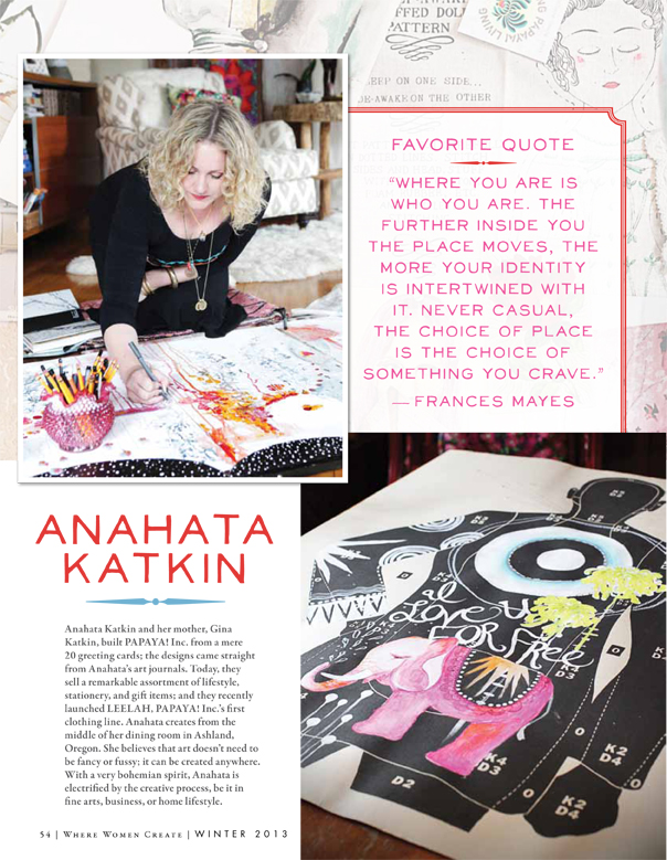 Where Women Create Magazine 2012: 16 page feature