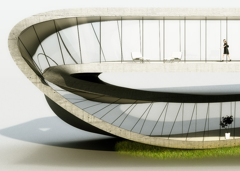 Rendering of 3D Printed House - section