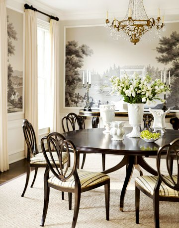 zuber wallpaper mural in traditional dining room
