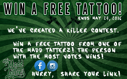 What? Yes you have a chance to win a tattoo!
