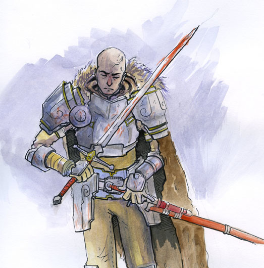 Watercolor Sketch of a Fantasy Knight Hero Good Guy.