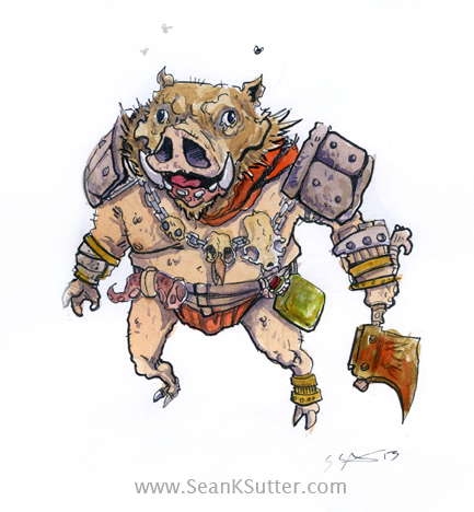 Pig barbarian. Generic fantasy bad guy? Probably the fruit of a demented wizard's delusional will.