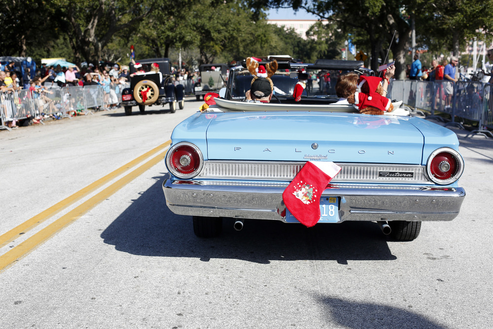 Christmas decorations hung on vintage cars in the Santa Parade on Saturday December 6th, 2014 in downtown St. Petersburg.