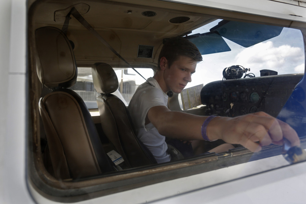 Wyatt McDowell, 16, of Tampa, closed the passenger window before he took off on his first solo flight in a Cessna 172 on Saturday January 3rd, 2015 from Peter O. Knight Airport at Davis Islands in Tampa. McDowell is a sophomore at Plant High School, and only recently turned 16, on December 22nd. As of Saturday he still had his learner's permit and had flown a plane by himself before he'd ever driven a car alone.
