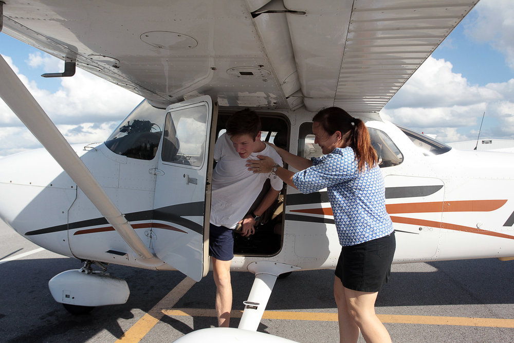 Wyatt's mom Lydia McDowell practically pulled him out of the plane after he successfully completed his solo flight.