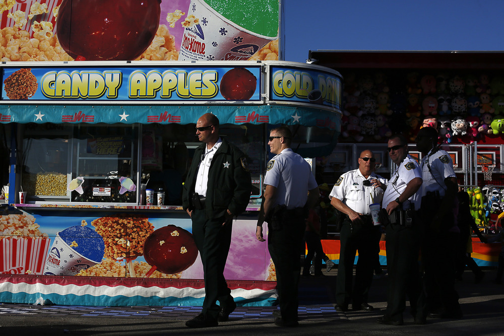 Hillsborough County Sheriffs deputies patrol the midway at the Florida State Fair on Friday February 6th, 2015.