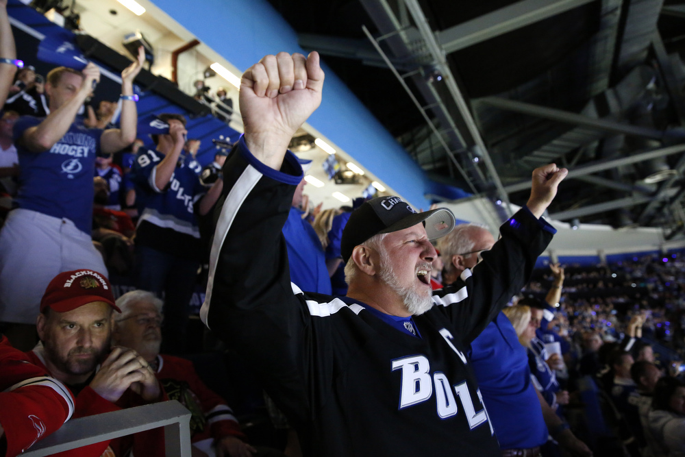 Rick Jablonski, of Tampa, cheers for the lightning, after the first goal scored during game one of the Stanley Cup finals against the Chicago Blackhawks on Wednesday June 3rd, 2015 at the Amalie Arena in Tampa.