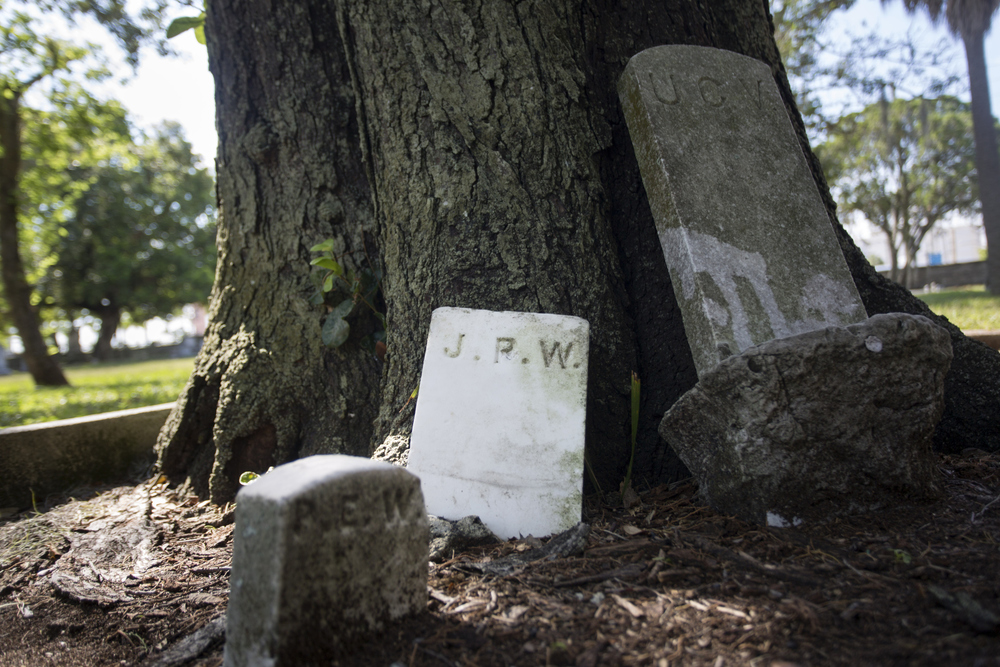 Misplaced footstones and other markers lay against a tree at Oaklawn Cemetery in downtown Tampa on Wednesday June 29, 2016.  Oaklawn was Tampa's first public burial ground.