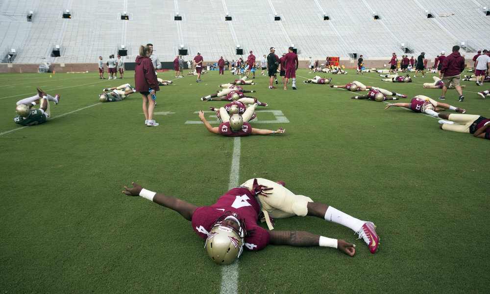 Florida State Seminoles running back Dalvin Cook (4) stretches during Florida State Seminoles football practice on Sunday August 14, 2016 at Doak Campbell Stadium in Tallahasse, Florida.