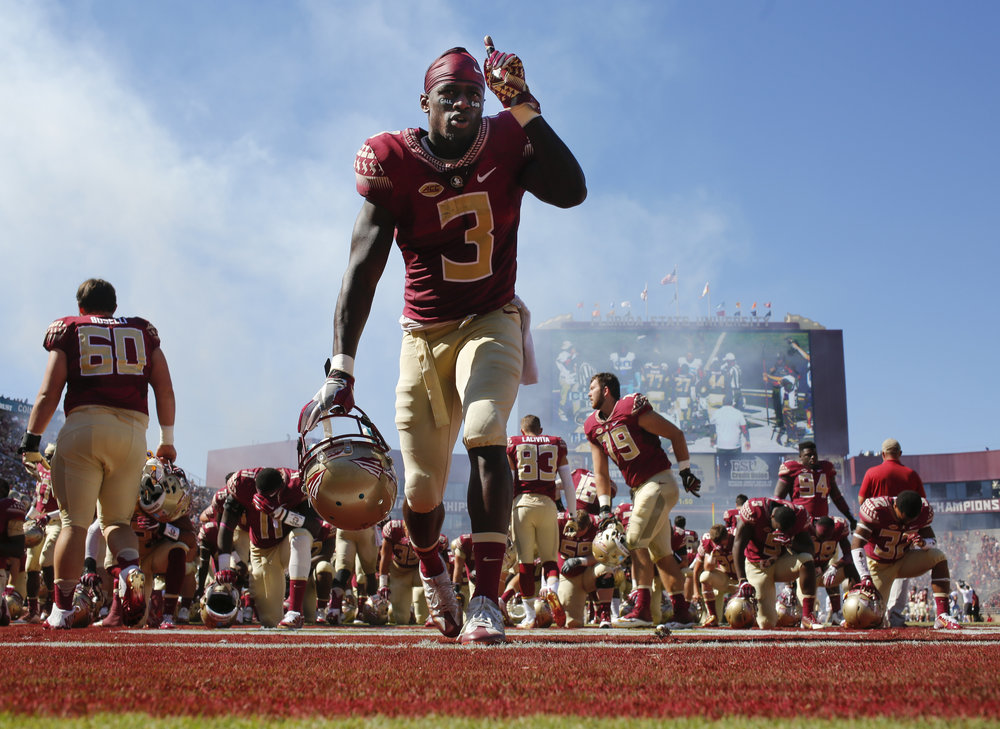 Florida State Seminoles wide receiver Jesus Wilson (3) prays before the Florida State Seminoles game against the North Carolina Tar Heels on Saturday October 1, 2016 at Doak Campbell Stadium in Tallahassee, Florida. The North Carolina Tar Heels defeated the Florida State Seminoles, 37 to 35.