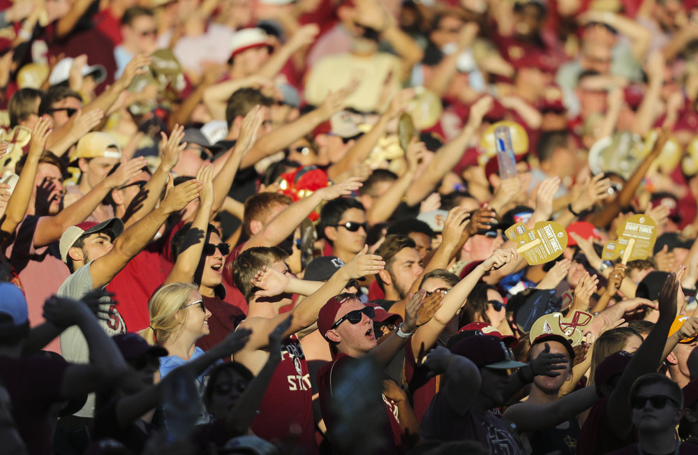 Florida State Seminoles fans cheer during the fourth quarter of the Florida State Seminoles game against the North Carolina Tar Heels on Saturday October 1, 2016 at Doak Campbell Stadium in Tallahassee, Florida. The North Carolina Tar Heels defeated the Florida State Seminoles, 37 to 35.