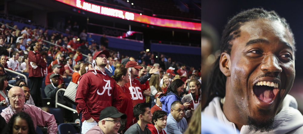 (left) Alabama Crimson Tide fans listen to press conferences during the College Football Playoff Media Day at Amalie Arena on Saturday January 7, 2017, in downtown Tampa, Fla. (right) Alabama Crimson Tide running back Bo Scarbrough (9) laughs with reporters during the College Football Playoff Media Day.