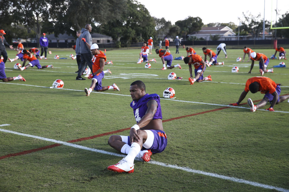 Clemson Tigers quarterback Deshaun Watson (4) stretches during practice on Saturday January 7, 2017, at the Tampa Bay Buccaneers practice facility in Tampa, Fla. The Clemson Tigers will take on the Alabama Crimson Tide on Monday January 9, in the College Football Playoff at Raymond James Stadium.