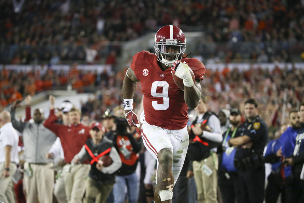 Alabama Crimson Tide running back Bo Scarbrough (9) runs for a touchdown in the second quarter during the College Football Playoff National Championship on Monday January 9, 2017 at Raymond James Stadium, in Tampa, Fla.