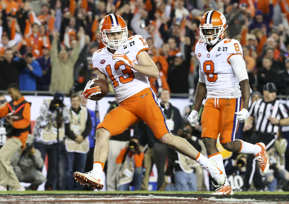 Clemson Tigers wide receiver Hunter Renfrow (13) scores a third quarter touchdown during the College Football Playoff National Championship on Monday January 9, 2017 at Raymond James Stadium, in Tampa, Fla. Clemson Tigers defeated the Alabama Crimson Tide 35 to 31.