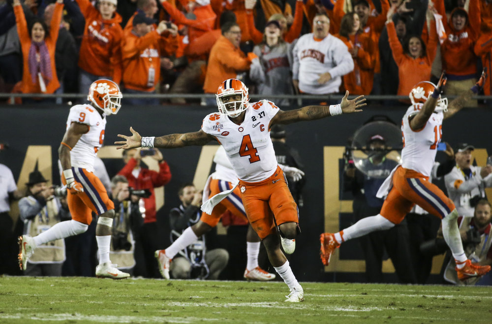 Clemson Tigers quarterback Deshaun Watson (4) celebrates after the final touchdown during the College Football Playoff National Championship on Monday January 9, 2017 at Raymond James Stadium, in Tampa, Fla. Clemson Tigers defeated the Alabama Crimson Tide 35 to 31.