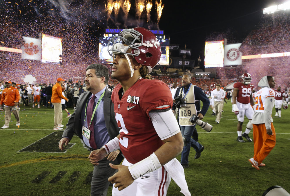 Alabama Crimson Tide quarterback Jalen Hurts (2) leaves the field following the College Football Playoff National Championship on Monday January 9, 2017 at Raymond James Stadium, in Tampa, Fla.