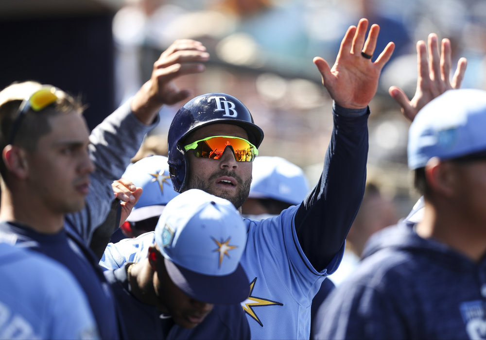 MONICA HERNDON   |   TimesKevin Kiermaier (39) of the Tampa Bay Rays, scores on a CJ Cron double in the fourth inning against the Minnesota Twins on March 9, 2018 at Charlotte Sports Park in Port Charlotte, Fla.