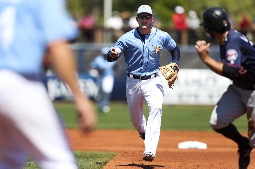 MONICA HERNDON   |   TimesCJ Cron (44) and Daniel Robertson (28) of the Tampa Bay Rays catch Ryan LaMarre (72) of the Minnesota Twins in a rundown during the second inning of a spring training game against the Minnesota Twins at Charlotte Sports Park in Port Charlotte, Fla.