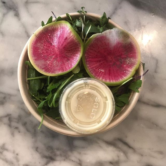 Our salad is way cute. Arugula, microgreens, watermelon radish and a white miso dressing.
