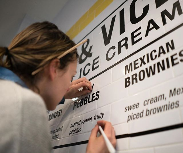 Putting the final touches on our new @iceandvice signage @brookfieldplny  Spring is gonna be tasty.