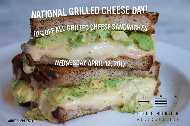 Hey!  It's #nationalgrilledcheeseday and we are celebrating by giving 10% off all our #grilledcheese sandwiches!!!! Get after it!