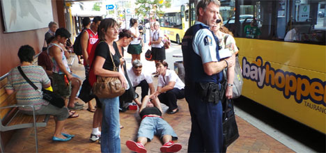 Security guards may patrol the bus stops outside the Tauranga Art Gallery.