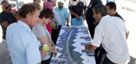 Councillors and public meet to discuss the proposed Pilot Bay boardwalk.