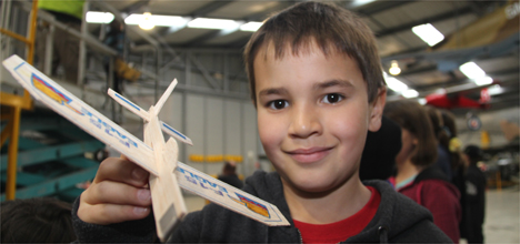 Brayden Palmer, 8, at the model aircraft competition.
