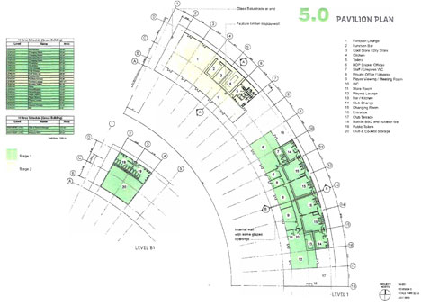 Proposed ground plan for stage 1 of the new pavillion.