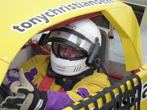 Tony getting ready to race at Baypark Speedway