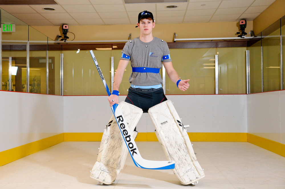 Goalie pad testing in BioMotion Lab