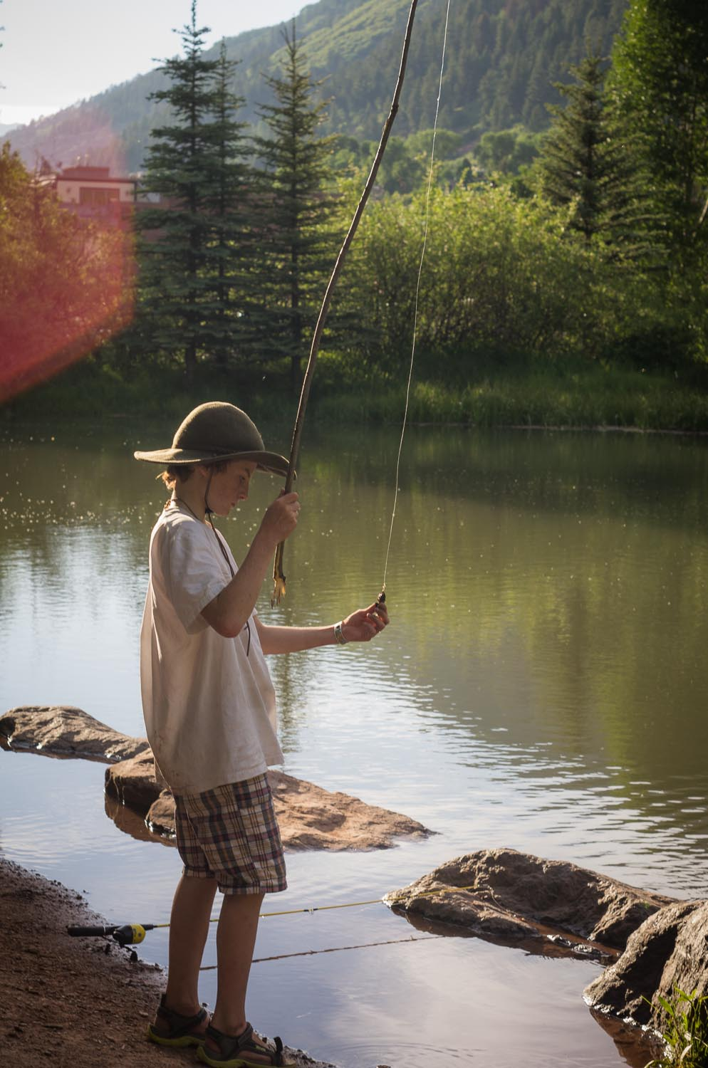 Boy with Homemade Fishing Pole