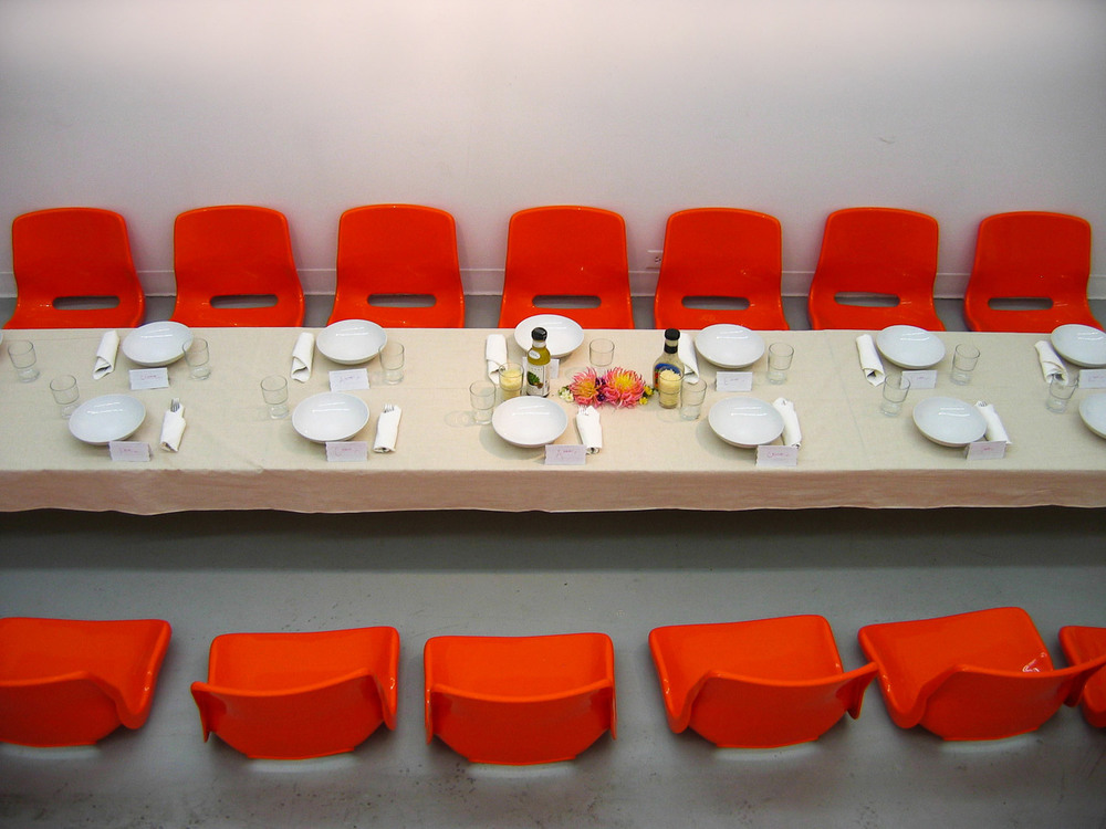 2006 / Materials:  Table, cloth, cables, place settings, food   Materials: L 12 ft.  /  W 3 ft.  /  H 19 in.