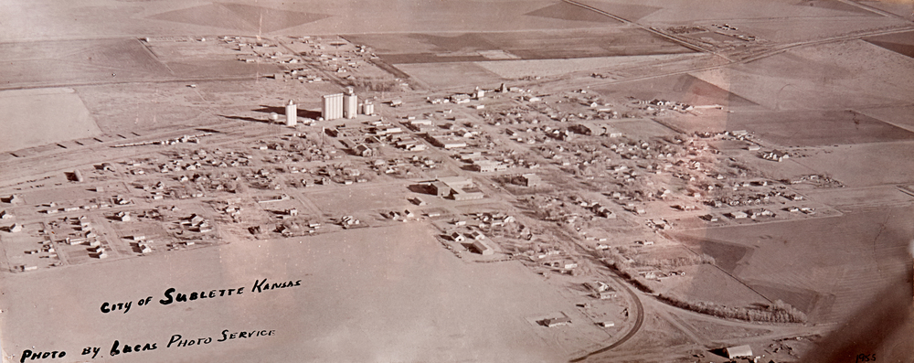 Looking towards the north, an aerial view of Sublette back in 1955.  Photo taken by Beulah Lucas