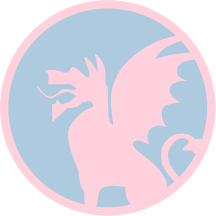 Decal in delicate shades of pink and blue, Beta Theta Pi's official colors.