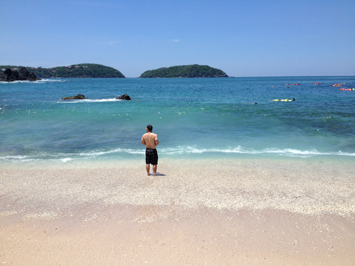 Josh soaking it all in while on our last vacation in Ixtapa, Mexico.