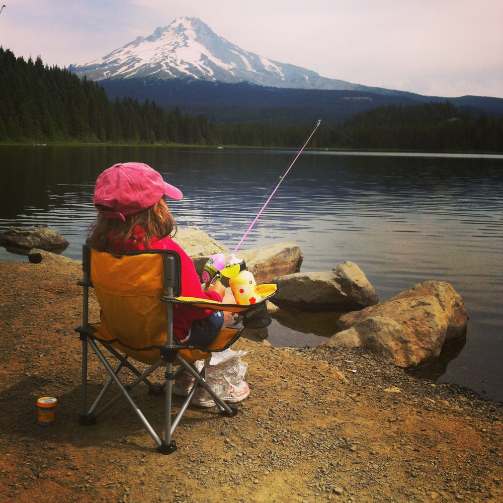 My four-year-old patiently fishing near Mt. Hood (photo taken by my husband).