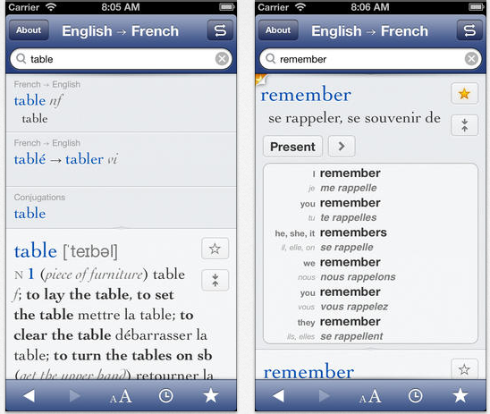 Ultalingua Collins French English Dictionary Screenshots.png