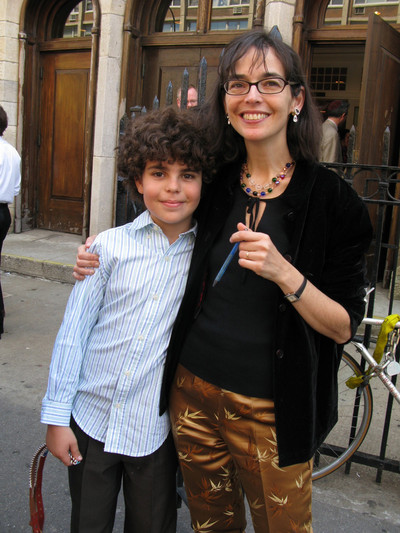 Lenore Skenazy and her son; photo by Amanda Gordon