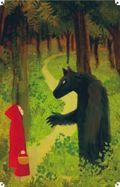 Internal ilustration from Le Petit Chaperon Rouge by Jean-Louis Lejonc. This version of the story was written by Jean-Jacques Fdida.