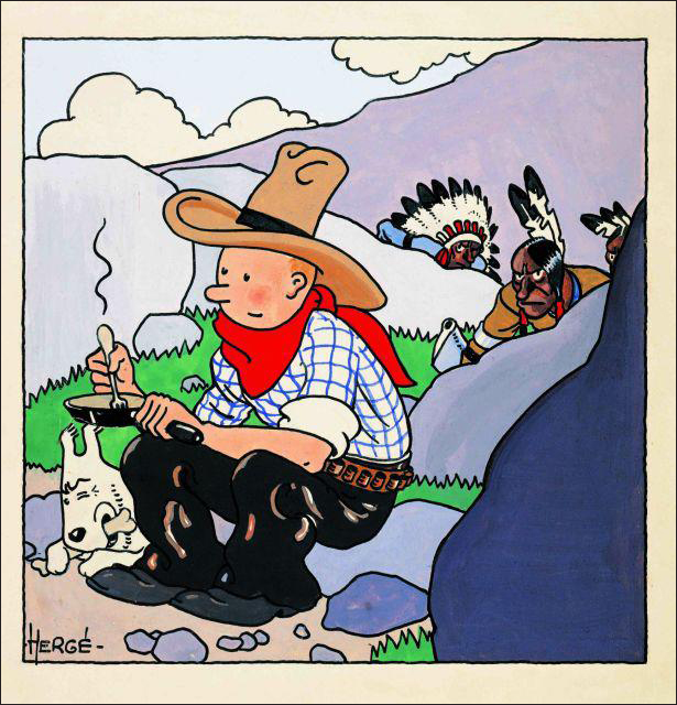 1932 cover of  Tintin in America  by Hergé