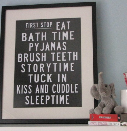 Bedtime poster from  MySweetPrints