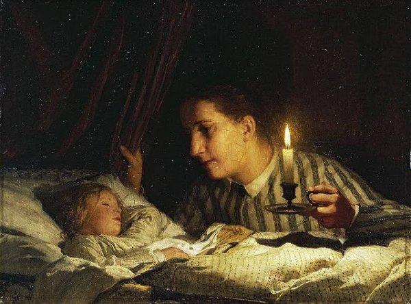 Jeune mère contemplant son enfant endormi by Albert Anker