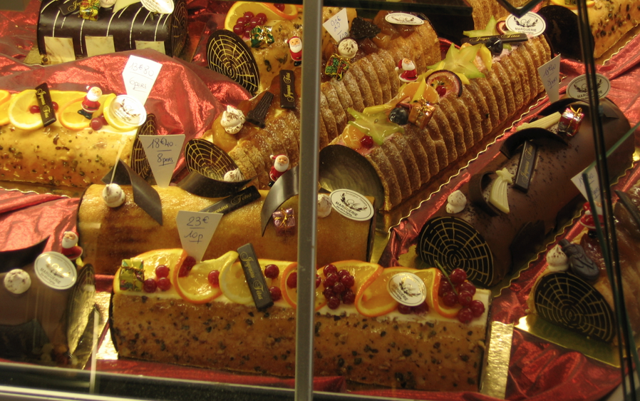 Traditional Yule Logs (Buche de Noël) in a French Patisserie